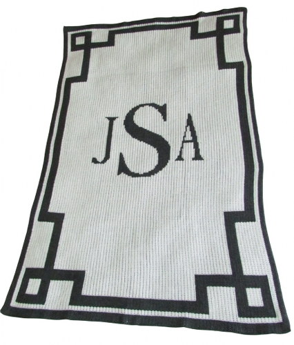 Personalized Blanket with Initial or Name and Scroll