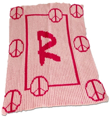 Floating Peace Sign Blanket with Name or Initial
