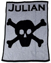 Personalized Stroller Blanket with Name, Skull and Crossbone