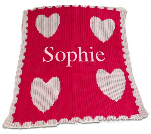 Personalized Blanket with Name, Multiple Hearts and Scalloped Edges