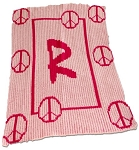 Floating Peace Sign Stroller Blanket with Name or Initial