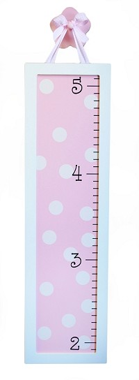 Pink Dot Wooden Growth Chart