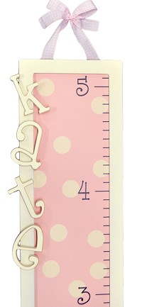 Pink Dot Personalized  Wooden Growth Chart