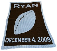 Sporty Football Stroller Blanket with Name and Birthdate