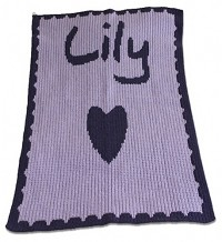 Name and Heart Blanket with a Scalloped Edge