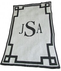 Personalized Stroller Blanket with Initial or Name and Scroll