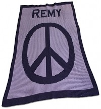 Personalized Stroller Blanket with Large Peace Sign