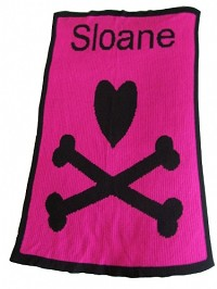 Personalized Stroller Blanket with a Heart and Crossbones
