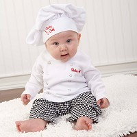 """Big Dreamzzz"" Baby Chef Three Piece Layette in Culinary Themed Gift Box"